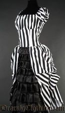 Black and white striped victorian style dress, goth, steampunk