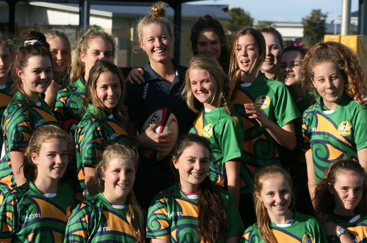 Coach Jo Kerr and her Unity College Girls Sevens team.