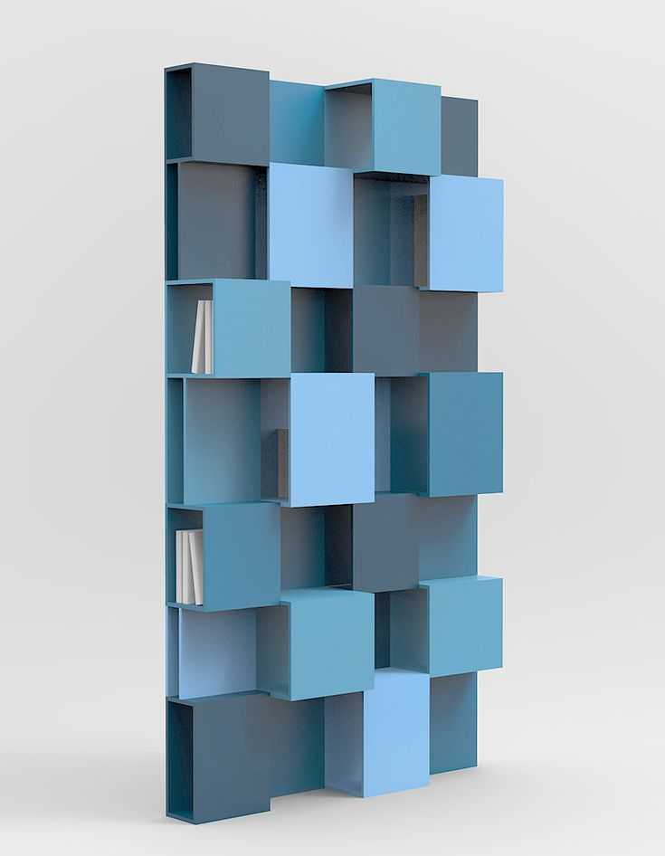 Avec son camaïeu de bleu et son design déstructuré, cette bibliothèque crée la surprise. Bibliothèque PIXL, Roche Bobois, 1 994,50 € www.roche-bobois...