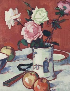Still life by Samuel Peploe.  Artdaily.org - The First Art Newspaper on the Net. In this painting Peploe has used a plain background compared to his other ones which usually had a patterned wallpaper I'm the background. I think he did this because it brings out the flowers in the vase a bit more because a patterned background would have covered them up. Peploe has also used a lot of red in the picture