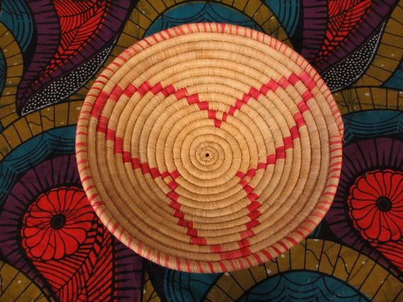 Salmon and Natural African Woven Bowl, Valentines Day Gift, Fruit Bowl, Fair Trade Bowl, Decorative Bowl, Traditional Bowl, Sweet Grass Bowl