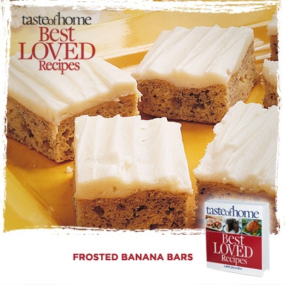 ♥ Your Best Loved Recipes: Frosted Banana Bars from the kitchen of Debbie Knight.TasteofHome #BestLovedRecipes