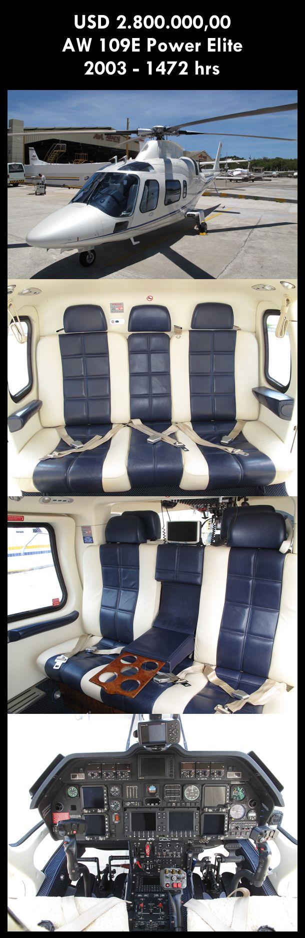 Aeronave à venda: Agusta Westland AW 109E Power Elite, 2003, 1472 hrs. #agusta #agustawestland #aw109epowerelite #agustapowerelite #agustaelite #aw109epower #agustapower #airsoftanv #a109epower #aircraftforsale #aeronaveavenda #pilot #piloto #helicoptero #aviation #aviacao #heli #helicopterforsale  www.airsoftaeronaves.com.br/H208