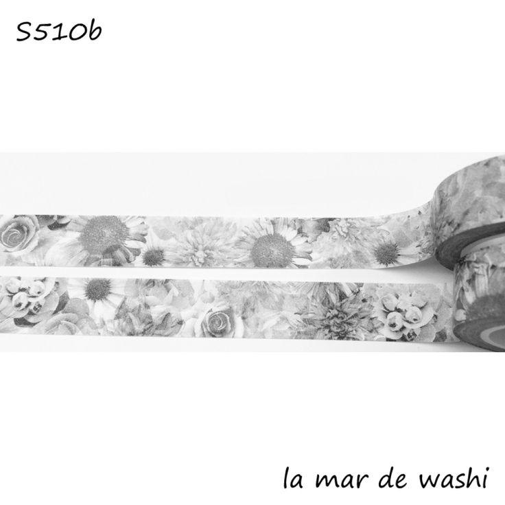 Washi Tape flores blanco y negro