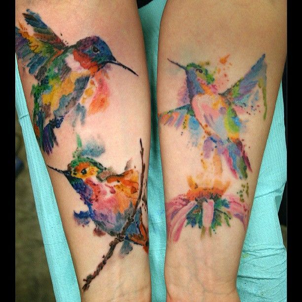 watercolor hummingbird tattoos. I'd love this hanging on my wall