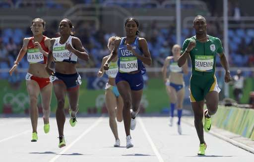 Caster Semenya divides opinion in Rio Olympic debut:  August 17, 2016  -      South Africa's Caster Semenya, right, United States' Ajee Wilson, center, Britain's Shelayna Oskan-Clarke, second left, and China's Chunyu Wang, left, compete in a women's 800-meter heat during the athletics competitions of the 2016 Summer Olympics at the Olympic stadium in Rio de Janeiro, Brazil, Wednesday, Aug. 17, 2016. (AP Photo/David J. Phillip)