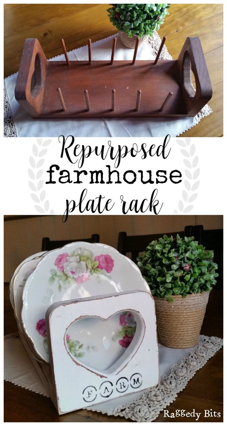 Using white chalkpaint I gave an old plate rack a new lease on life. Full tutorial for Repurposed Farmhouse Plate Rack | http://www.raggedy-bits.com