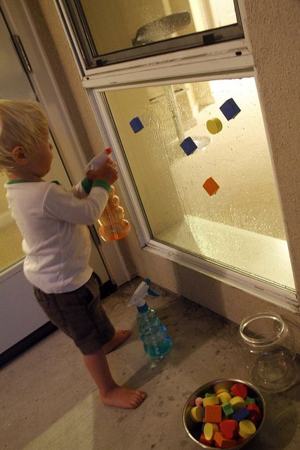 foam blocks stick to windows with water...........this has become a daily activity for my 3 year old, she loves it!
