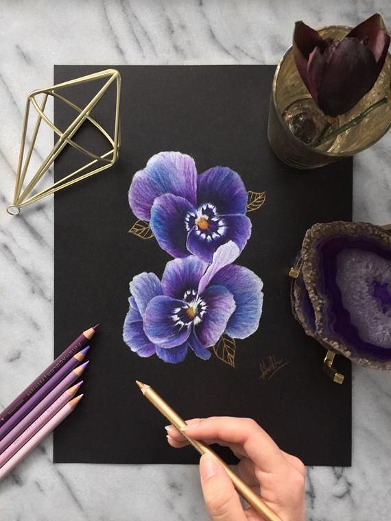 Purple And Blue Flowers With Gold Skeleton Leaves On Black Paper