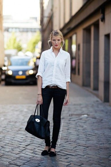 black jeans, belt and casual white blouse