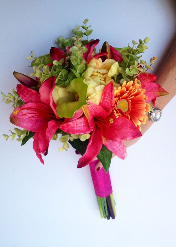 Bright and Fun Bride's Bouquet  Hot Pink Tiger by blumarieboutique