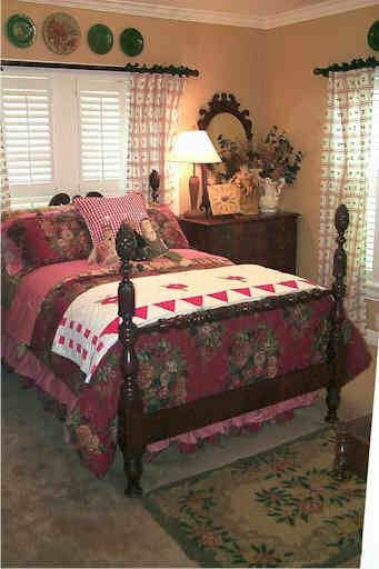 """""""...bed & breakfast colors of red, mustard, & green feel very warm & inviting to guests."""""""