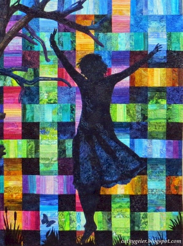 Detail of the woman, 9 patch blocks, appliqued tree, from Cathy Geier's quilt Interwoven.
