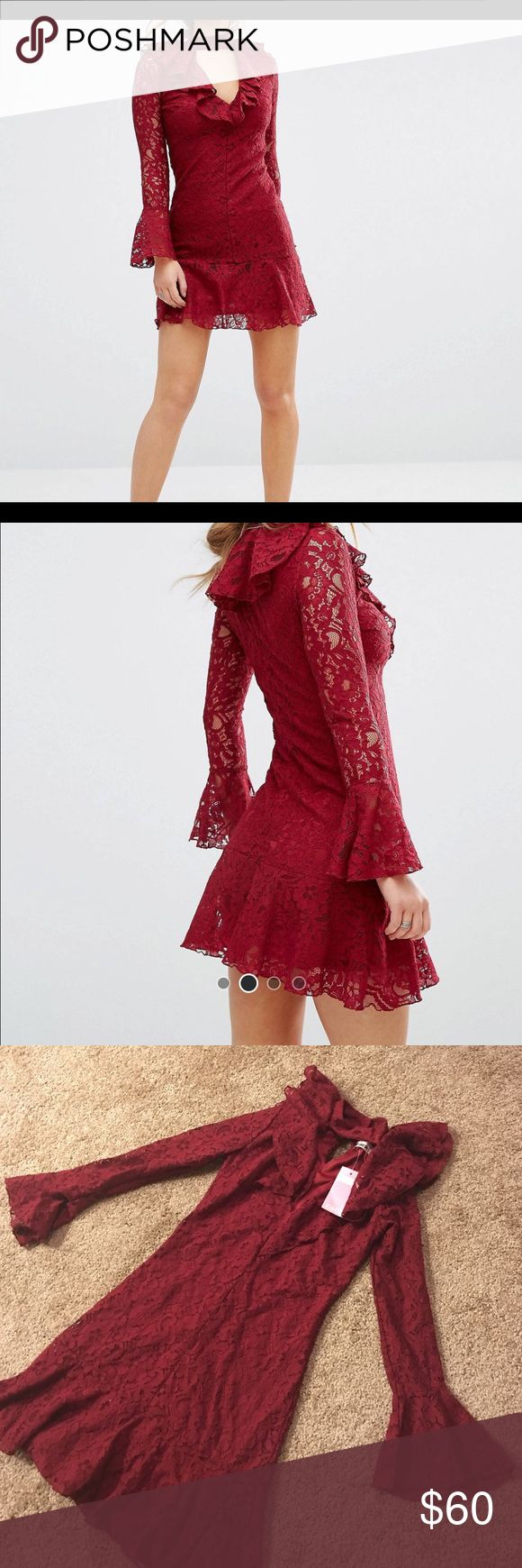 John Zack Petite High Neck All Over Lace Dress Gorgeous Valentine's Day dress! Would look great with a pair of chandelier earrings and strappy heels. Never been worn, tags still attached. John Zack Dresses Mini