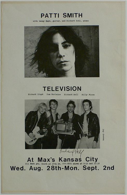 Patti Smith/Television // early punk poster advertising a series of shows at Max's Kansas City, August 1974 //