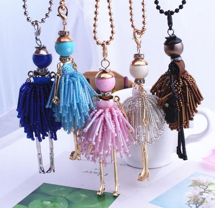 2016 Joyería de Moda! muñeca Collar de Colgantes de Los Encantos Del Envío Libre Mujeres Accesorios Femeninos de Cristal Perlas Joyas hechas a mano Bricolaje