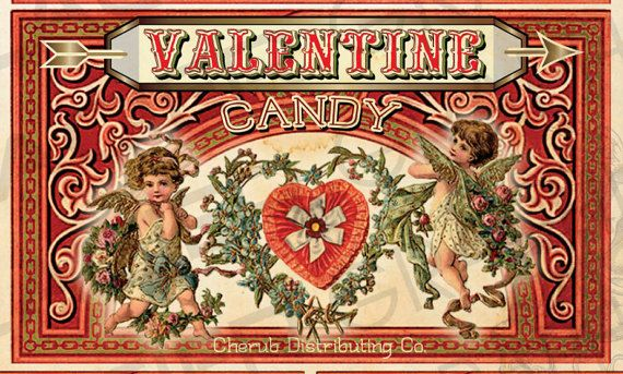 Vintage Valentine Candy Label Digital by WAGlacierGraphics on Etsy