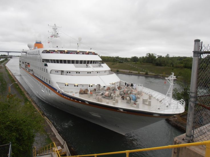 After almost 4 years away from the Great Lakes, C. Columbus is back. here the German cruise ship is about to enter lock 3 in St. Catharines, Canada. She's heading upbound in the Welland canal. Photo taken on September 6, 2011.