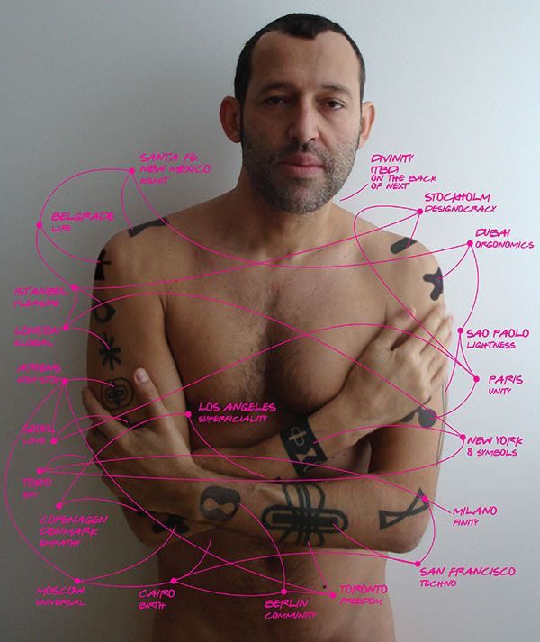 Karim Rashid: the Secret to his Tattoos (are different links to his 'art' on his website).