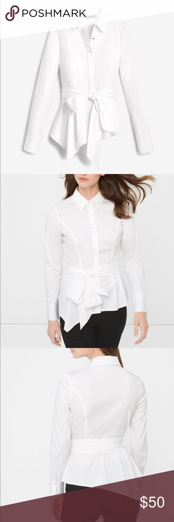 """🐰Easter Bunny Sale!!🐰WHBM Cotton Stretch Blouse Very tailored look with this beautiful Asymmetric Blouse with gold detail. New with tags. Precise pleats and a self belt accent this white poplin blouse, creating an asymmetric peplum effect. Cotton/nylon/spandex. Machine wash, cold. Approx. 29.5"""" from shoulder at longest. White House Black Market Tops Button Down Shirts"""