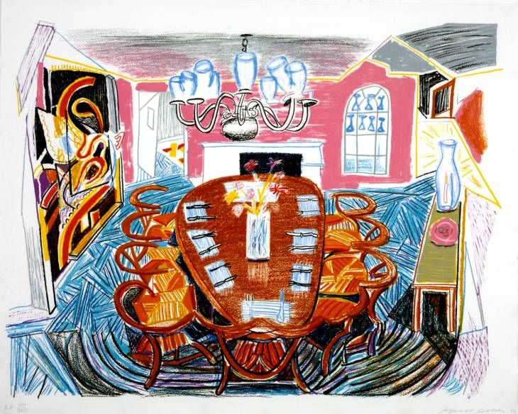Artist  David Hockney (born 1937)  Title  Tyler Dining Room  Date 1984  MediumLithograph on paper  Dimensionsimage: 730 x 950 mm  Collection  Tate