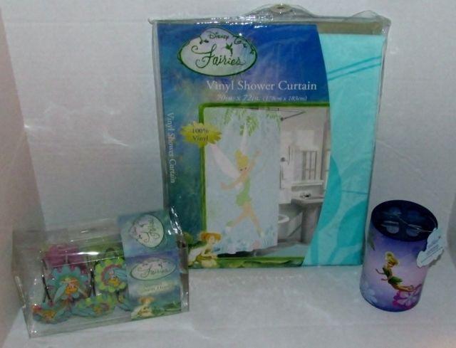 Disney Fairies Tinker Bell Bath Set Shower Curtain Hooks ...