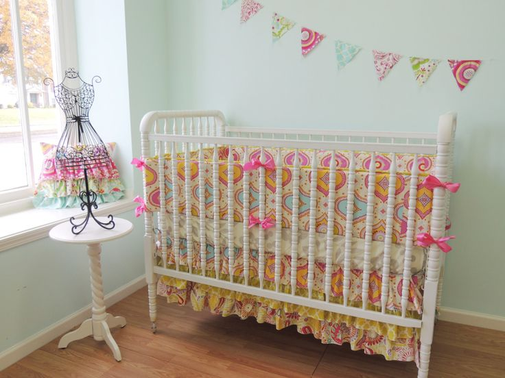 We love the ruffly crib skirt and sweet crib bedding from @Tushies And Tantrums! {See more of their adorable nursery decor in our Vendor Guide!} #nursery #crib #bedding:  Cots, Girls Beds, Cribs Beds, Happy Colors, Sweet Cribs, Nurseries Cribs, Cribs Skirts, Baby Girls, Boutiques Cribset