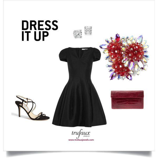 Dress Up Your Little Black Dress with Schiaparelli Jewels: Ruby Fireworks by trufauxjewels on Polyvore featuring Halston Heritage, Jimmy Choo, Nancy Gonzalez, Blue Nile and Schiaparelli