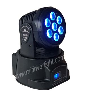 F-715B - 7*15W RGBAW 5in1 LED Mini Wash Moving Head ‐ Beam Angle: 25 Degrees ‐ Flicker free: PWM speed ≥ 400HZ ‐ Electronic Dimmer 0‐100% ‐ Strobe ‐ Pan: 540 ‐ Tilt: 240 ‐ LED Digital Display ‐ DMX Channels: DMX512, Sound Active, Auto Run