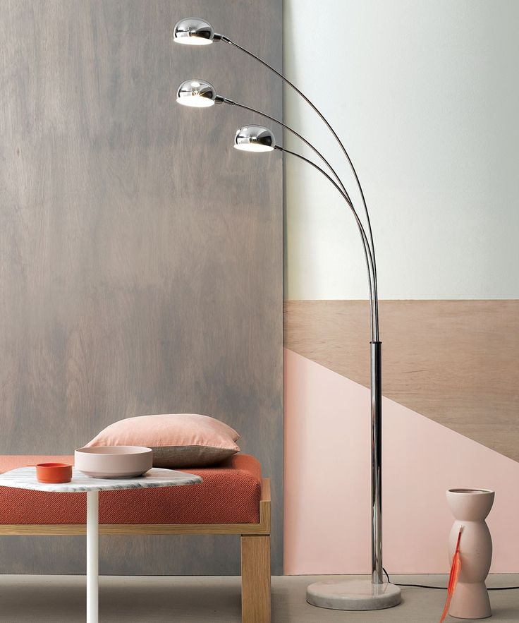 Centaur 3 Light Floor Lamp in Chrome with Marble Base