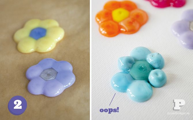 Place beads on a pan (with a cookie sheet) in the shape of a flower and stick it in the over till they look like this
