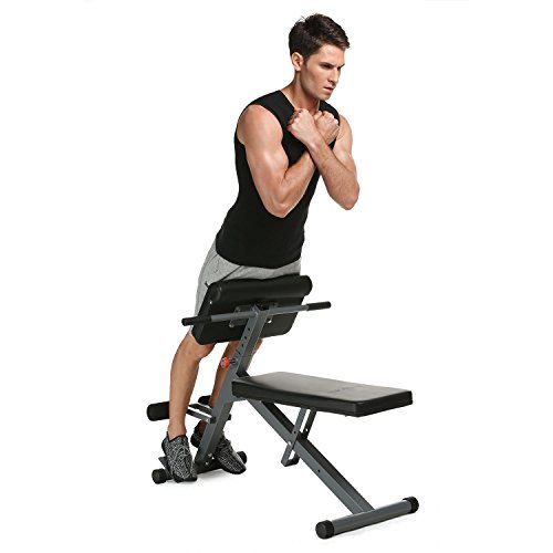 ANCHEER Hyper Bench Roman Chair Hyperextension Back Extension Machine Home Gym Multi-function Adjustable Workout Weight Bench for Core & Abdominal Exercises  1.Roman Chair Professional Quality Construction: Thickly Padded, Non-slip Design, Pivoting Foam Rollers, and Extended Hand Grips design will make you feel comfortable and safe.  2.Adjustable Hyper Bench: Five height position to fit your height or workout needs!Work out seat can be adjusted easily to 3 angle to increase or decrease...