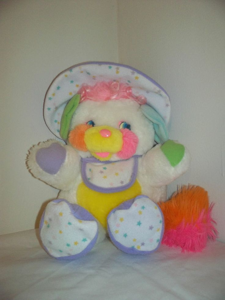 "Popples 13"" Vintage White Baby Bibsy Popple Plush Toy Doll (Rattle ..."