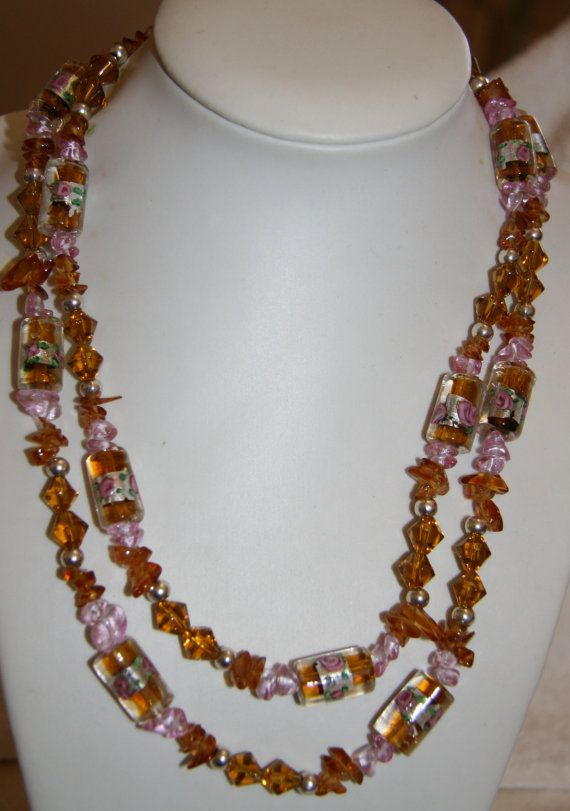 Brown glass beaded double strand necklace