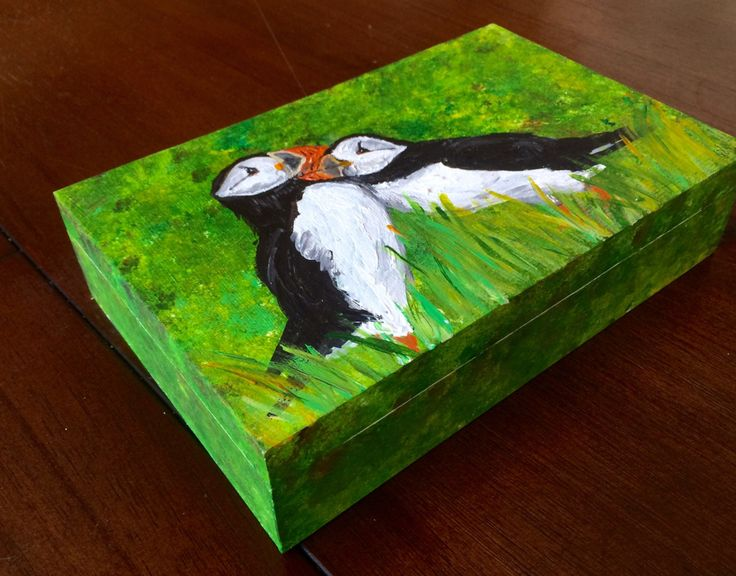 Puffin Pair Keepsake Box, Hand painted, Acrylic, Cute animal couple, 9x6x2in, wildlife, atlantic puffin, decorative box, Photo box by FHarrisArtShop on Etsy