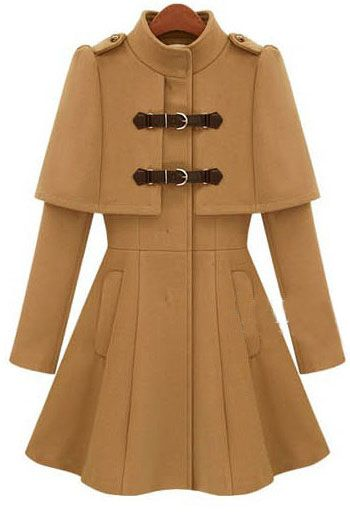 Khaki Long Sleeve Cape Woolen Coat
