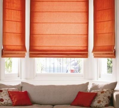 Cotton Orange Roman Blind - From £75.00 #orangeromanblinds