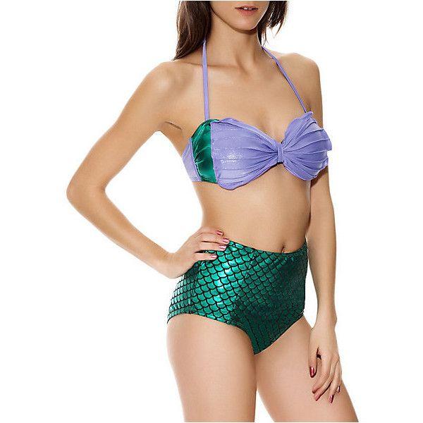 Disney The Little Mermaid Ariel Costume Top | Hot Topic (£12) ❤ liked on Polyvore featuring swimwear, bikinis, bikini tops, swimsuits, bikini, bathing suits, disney, swim suits, seashell bikini top and bikini top