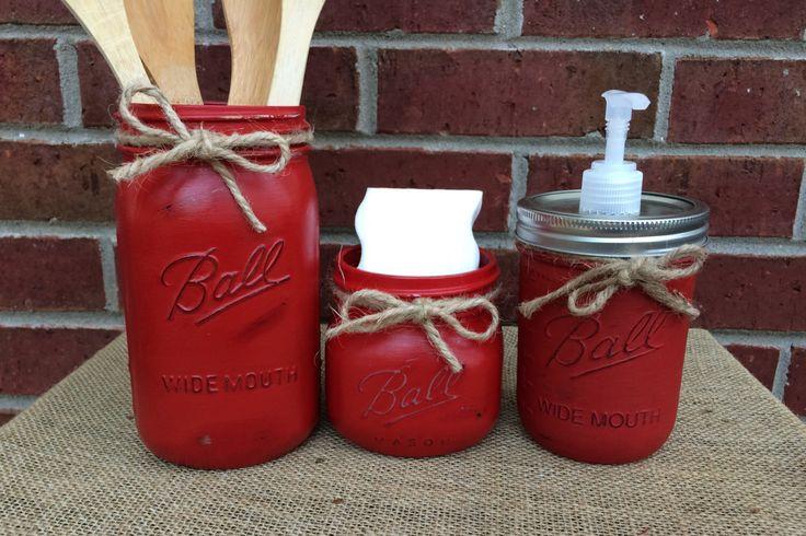 Hand Painted Mason Jar Kitchen Set, 3 Piece Mason Jar Kitchen Set, Red Kitchen Decor, Rustic Kitchen, Shabby Chic Kitchen Mason Jars by MonisMasonCreations on Etsy https://www.etsy.com/listing/236898444/hand-painted-mason-jar-kitchen-set-3
