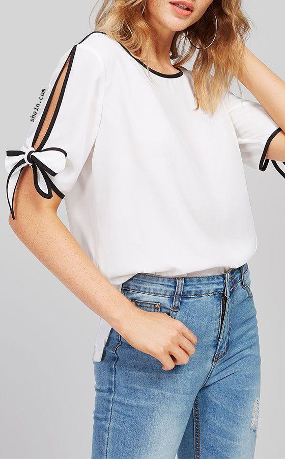 Contrast Binding Split Tie Sleeve Top