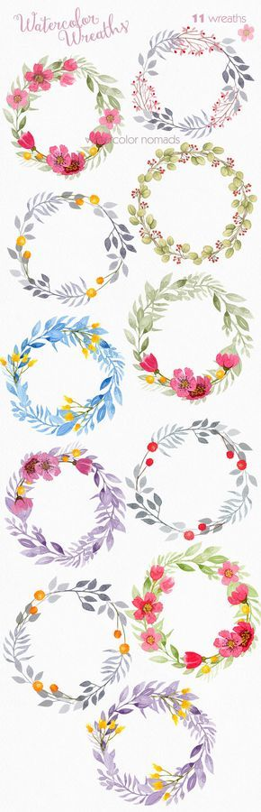 Floral wreath clipart, watercolor clipart, wedding clipart, flower clip art, instant download, commercial use, web graphics, blog graphics