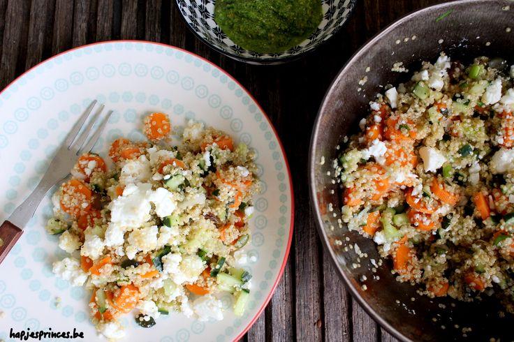 quinoasalade met geroosterde wortelen, feta en pompoenpitjes