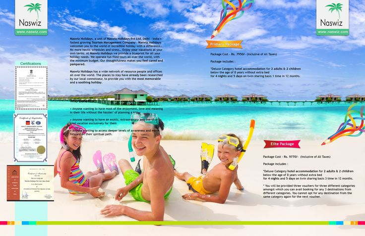 Creative Brochure Designed for Naswiz Holidays by Rosemary Interactive. Front Inner Cover and Back Inner Cover design is a part of Brochure.