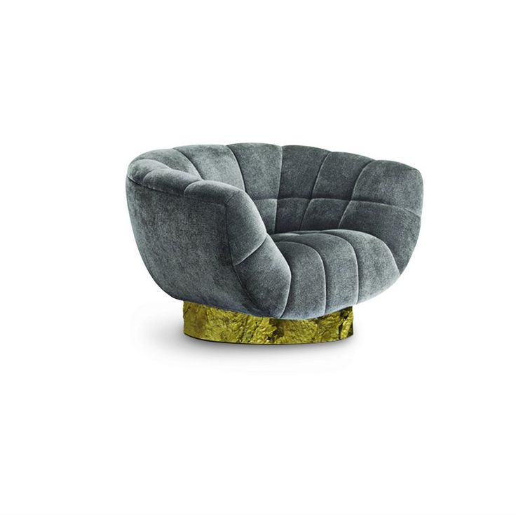 Home decorating ideas: mid-century new collection @brabbu  - ESSEX grey upholstered chair with a brass base