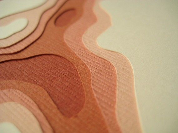 Paper cut notecards - Topography - Crafterall - Etsy - $16