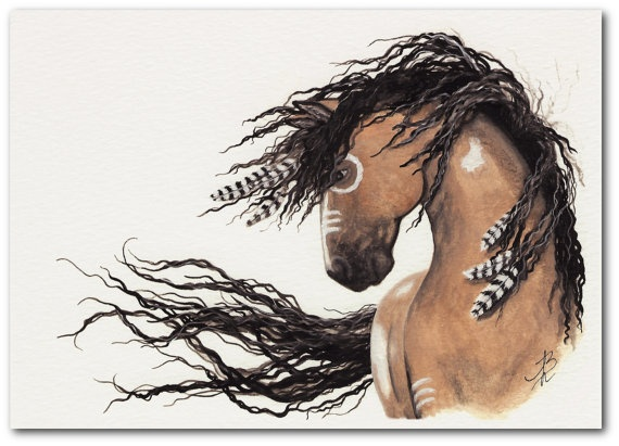 Mustang Curly Horses - Native American Feathers Buckskin Pinto Art -  5x7 Fine ArT Print by AmyLyn Bihrle. $15.00, via Etsy.