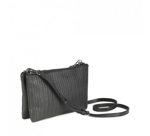 Elna Crossbody Bag in black woven leather // Markberg