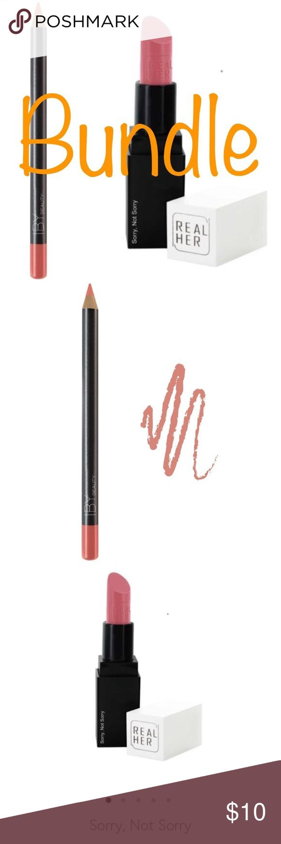 🖤 Makeup Bundle IBY Coral Lip Pencil &&& Real Her Lippie in Sorry, Not Sorry! Brand New, Never Been Tested ☺️ Sephora Makeup
