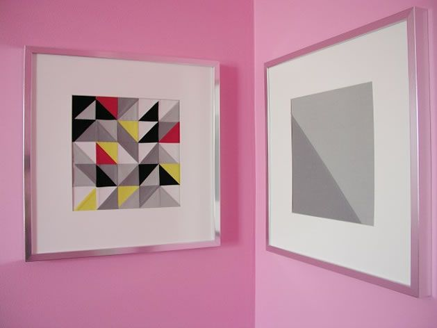 Cute way to frame an extra block    triangle_patchwork_brett_bara.jpg: Wall Art, Triangles Patchwork, Sewing 101, Diy'S Crafts, Patchwork Wall, Quilts Art, Digital Camera, Paintings Chips, Art Diy'S
