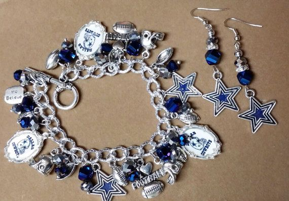 dallas cowboys chunky charm bracelet and star earrings. Black Bedroom Furniture Sets. Home Design Ideas
